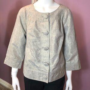 Kenar Woman Metallic Button-Down Boxy Style Jacket